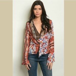 Rust Toned Boho Mixed Print Chiffon Blouse